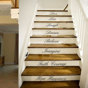 fashion diy stair decal love live house letter sticker wall staircase home decor ebay. Black Bedroom Furniture Sets. Home Design Ideas