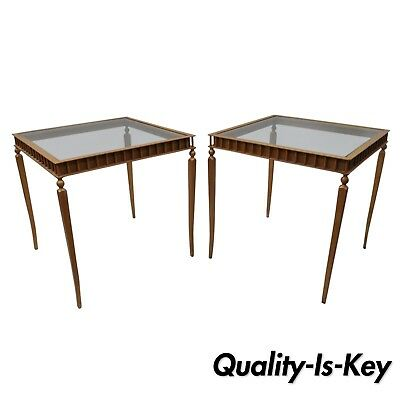 Pair Of Gold Neoclical Hollywood Regency Style Side End Tables Metal Gl Ebay