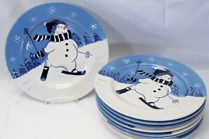 Northcrest-Home-Snowman-Winter-Valley-Skiing-Dinner-Plates-10-75-034-Lot-of-8-Xmas