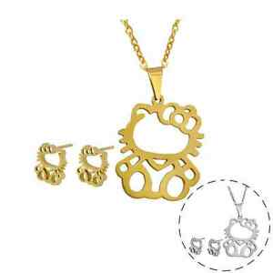 38b4f4182 Image is loading Silver-Gold-Hello-Kitty-Cat-Kitten-Stainless-Steel-