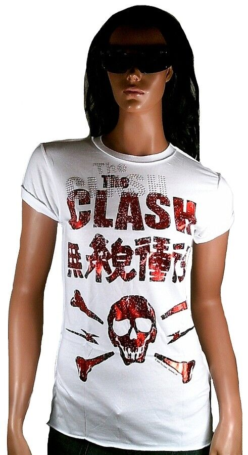 AMPLIFIED Official THE CLASH SKULL Strass Vintage Rock Star ViP T-Shirt g.S