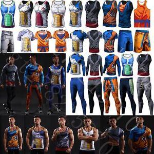 Dragon Ball Z 3D Comic Sport T-Shirt Vegeta Short Pants Gym Men s ... 0571dede1d1
