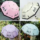 Fashion Flower Windproof Anti UV Sun Rain Parasol Quad-folding Princess Umbrella