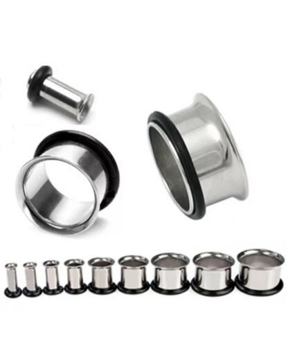 Free P/&P Various sizes Surgical steel single flesh tunnel ear stretcher//plug
