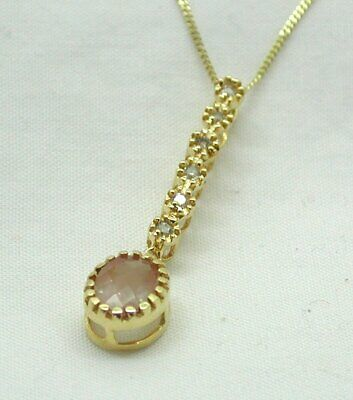 Vintage Carved Rose Quartz Pendant with 10K Chain16 Inches