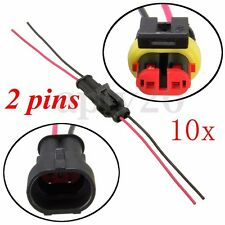 10Set 2 Pin Way Waterproof Seal Electrical Connector Plug W/ Wire Motorcycle Car
