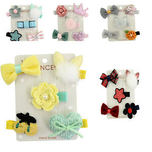 5Pcs Baby Girl Hair Clip Bow Flower Mini Barrettes Party Star Kids Hairpins
