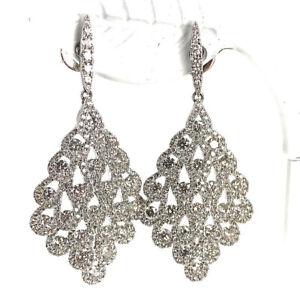 Vintage-18K-White-Gold-4-01ctw-Diamond-Chandelier-Dangle-Earrings