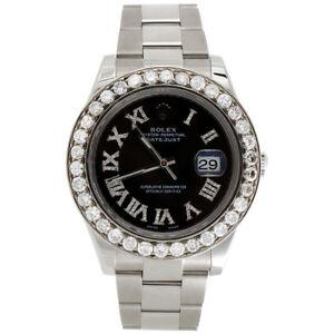Mens-41mm-116300-Rolex-DateJust-II-Steel-Diamond-Watch-Black-Roman-Dial-5-50-CT