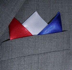 SUPERNOVA Blue White Red Satin 3 Point Carded Pocket Handkerchief England France Dodatki męskie