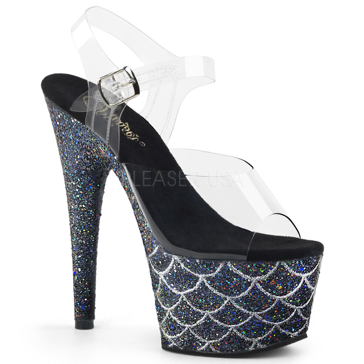 Pleaser ADORE-708MSLG Glitter Ankle Strap Sandale Holographic Glitter ADORE-708MSLG Mermaid Scales 5c0d36