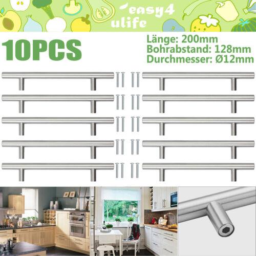 10x Möbelgriffe Möbelgriff Küchengriff Schrankgriff Tür Chrom Edelstahl 200mm DE