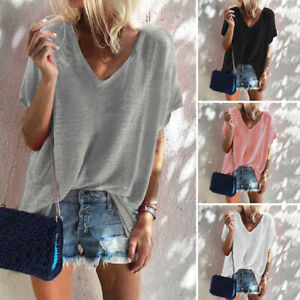 AU-8-24-Women-Short-Sleeve-Pullover-Basic-Tee-T-Shirt-Top-Plus-Size-Blouse-Solid