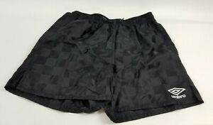 Vintage-90s-Umbro-Adult-Small-S-Black-Spell-Out-Nylon-Checkered-Running-Shorts