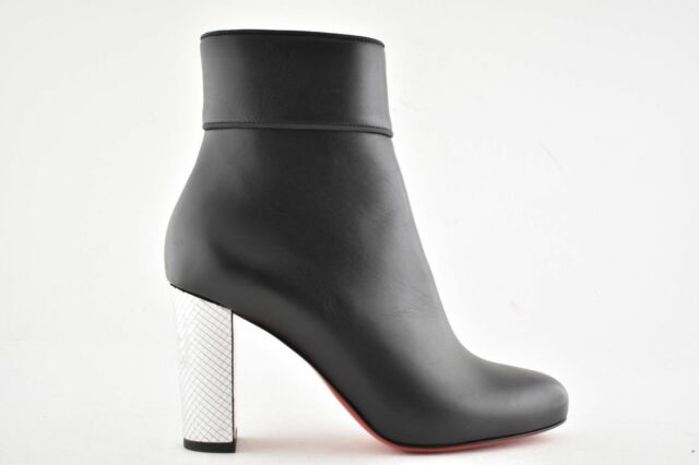 c6b0be6c5f4 LOUBOUTIN MOULAMAX 85 BLACK LEATHER SILVER DISCO BALL HEEL ANKLE ZIP BOOTS  39