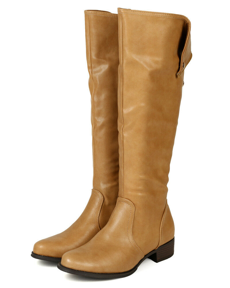 Wild Rose Chelsea-03 New Women Leatherette Zipper Foldable Calf High Riding Boot