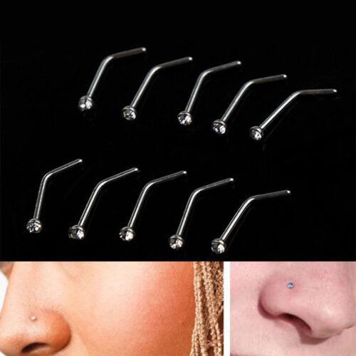 10x Rhinestone Stainless Steel Screw Nose Hoop Ring Stud Body Piercing VogSPUKLD