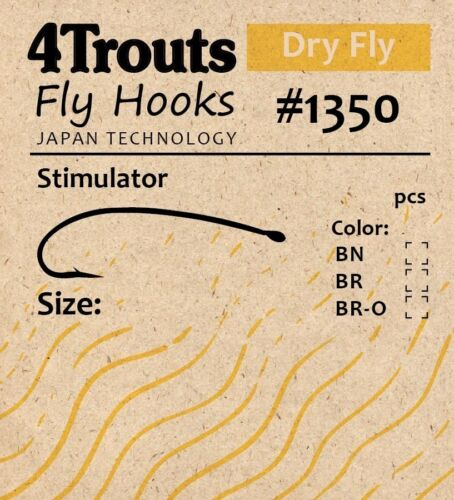 Dry Fly Hooks STIMULATOR for tying Dry Fly 4Trouts #1350 100pcs//pack bend shank