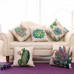 Succulent-Plants-Cotton-Linen-Pillow-Case-Throw-Cushion-Cover-Decor-18-034