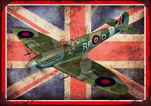 SpitFire British Flag World War Two WW2 Retro Vintage Metal Sign