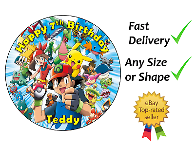 Pokemon Personalised Cake Topper Round Square plaquette ou Glaçage feuilles comestibles