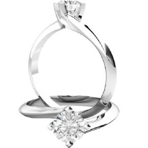0.50 Ct Round Cut Moissanite Engagement Bridal Ring 18K Solid White Gold Size 5