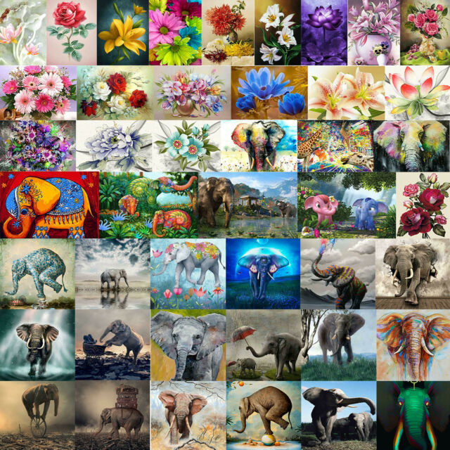 Flowers Elephant 5D DIY Full Drill Diamond Painting Cross Stitch Kits Embroidery