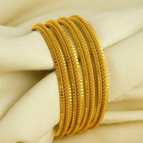 18K Bollywood churi Bangle Set 4ps dorés mariage Bracelets Fashion Jewelry