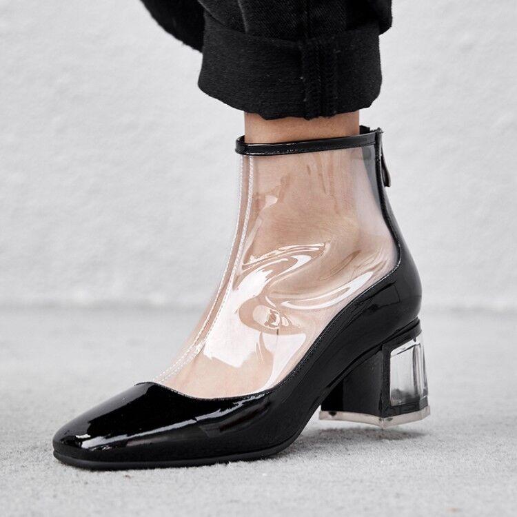Nuevo Moda Para Para Para mujeres Cuero Cremallera Punta rojoonda Pvc Postal botas al Tobillo 2 Colors Tamaño 34-41  Con precio barato para obtener la mejor marca.