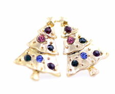 Lovely gold tone Christmas tree stud earrings with crystal, Xmas star on top