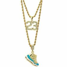 """14K Gold Plated Hip Hop """"Columbia"""" & Cz 23 Pendant 3mm 24"""" & 4mm 30"""" Rope Chain"""