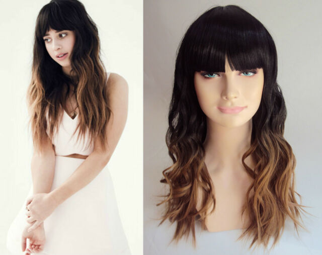 DELUXE FOXES LONG BLACK BLONDE OMBRE DIP DYE HEAT RESISTANT FASHION WIG