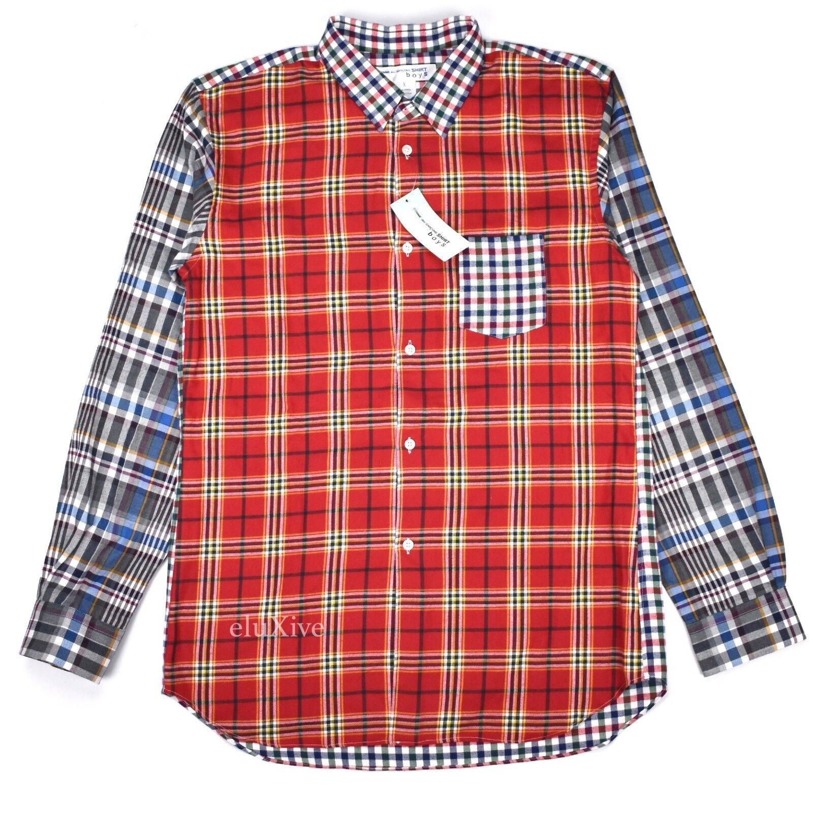 NWT  Comme des Garcons SHIRT Boys Men's Patchwork Plain Flannel XL AUTHENTIC