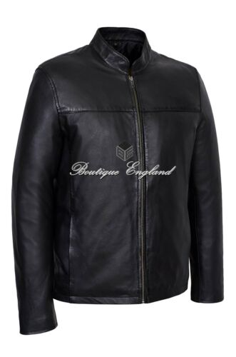 Leon Men/'s Black Classic Biker Style Fitted Lambskin Real Leather Jacket 257