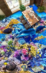3D Coral Sea Dolphin 83 Floor Wall Paper Murals Wall Print AJ WALLPAPER UK Lemon