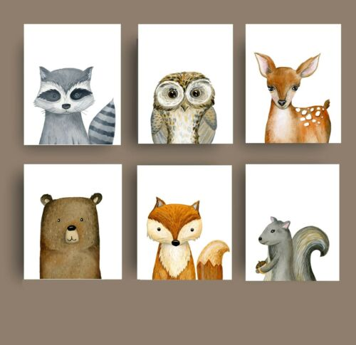 forest animal prints baby nursery pictures woodland animal wall art decor
