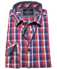 M bis 7XL Casa Moda Casual Fit Langarmhemd weiss blau rot Karo Gr