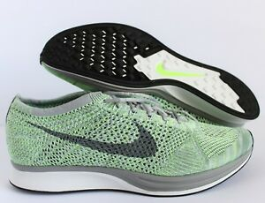804c013904f7 NIKE FLYKNIT RACER WHITE-COOL GREY-GHOST GREEN SZ 13  526628-103 ...