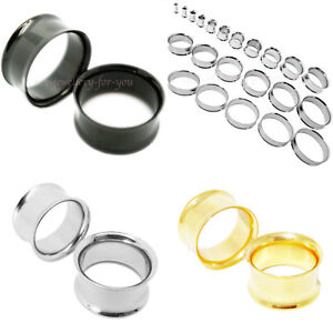 Flesh-Tunnel-Double-Flared-Stainless-Steel-Ear-Plug-Silver-Gold-Black-3-to-40mm