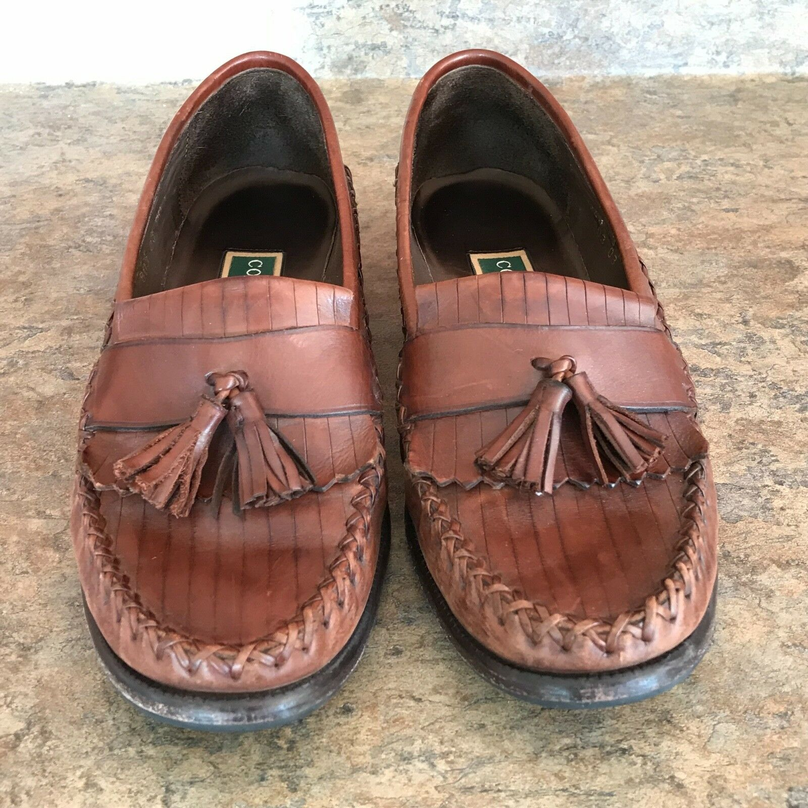 Cole Haan Woven Woven Woven Leather Loafers Tassel Brown Mahogany size 9AA Leticia shoes ee7168