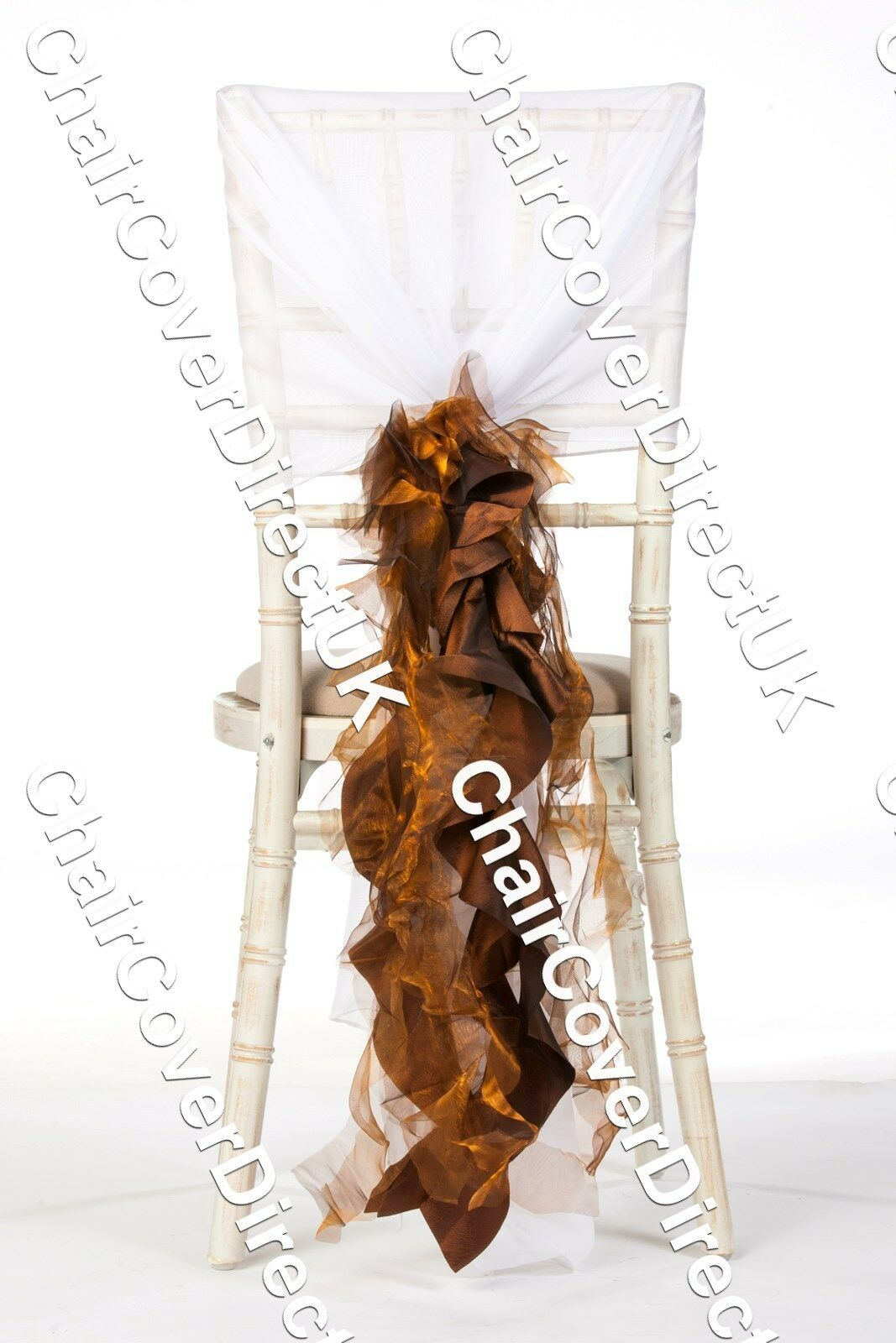 100 Cuivre Marron Chocolat Organza Et De Taffetas Mix chaise Couverture Sash Volants