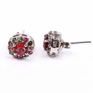 Flower Garnet Earrings-Garnet Stud Earrings-Dainty Sterling Silver-Minimalist Boho Statement Earrings-Tiny Bridesmaid Earrings-Gift for Her