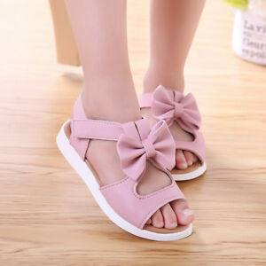 25439300e85d Image is loading Baby-Girls-Children-Sandals-Bowknot-Girls-Flat-Pricness-
