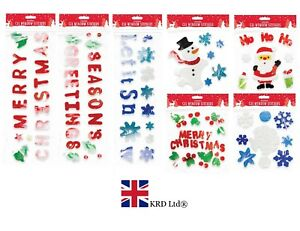 Merry Christmas Gel Clings Window Glass Stickers Decorations free uk p/&p