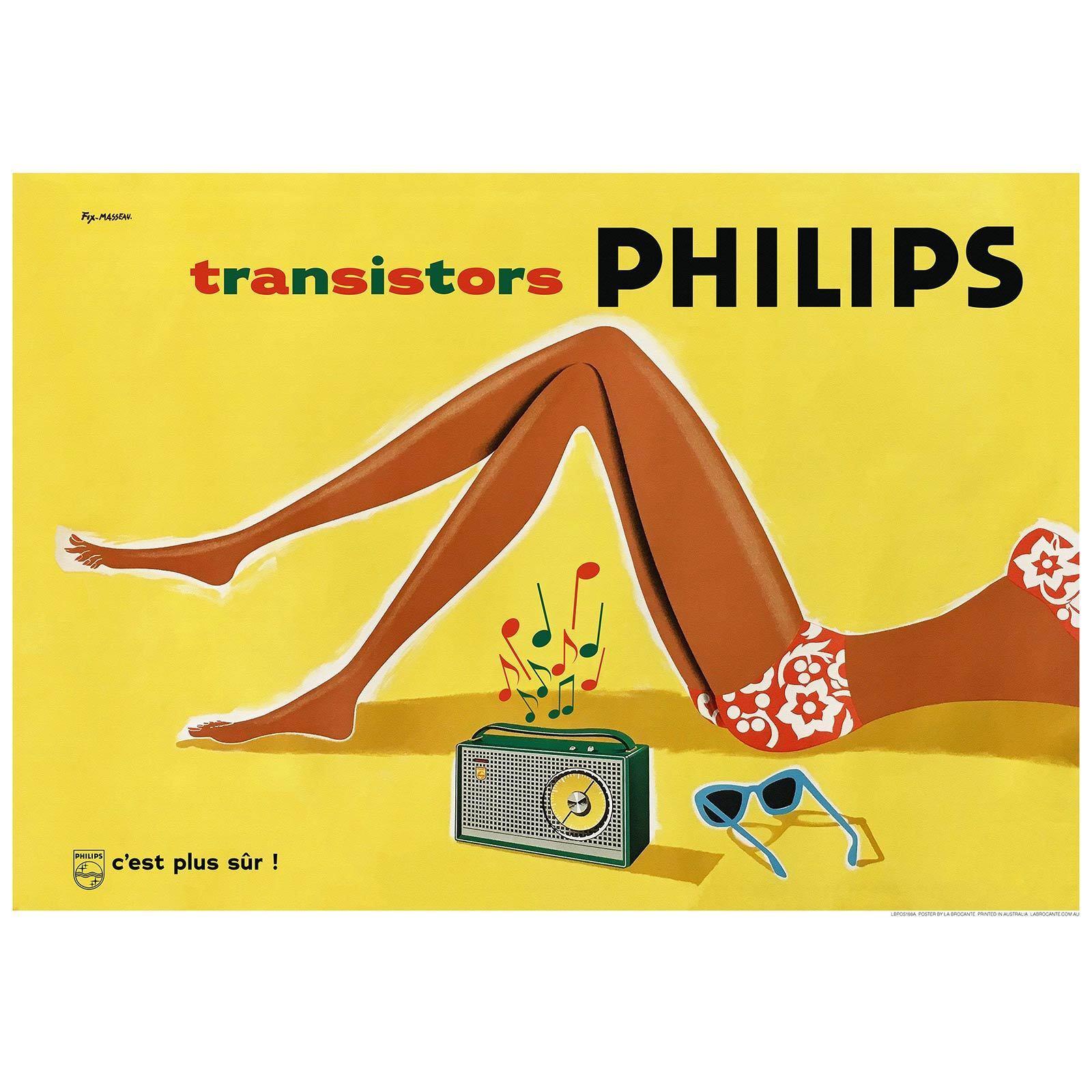 Philips Transistors Retro Print - Vintage AdGrünising Poster - 5 Größes & Framing