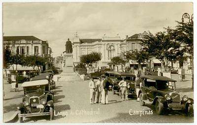 c1930 Campinas Brazil Largo da Catedral Real Photo many automobiles