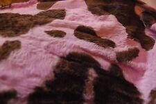 pink brown fur ANIMAL cow PRINT velour onesie pyjama FABRIC 150cm drop PER METRE
