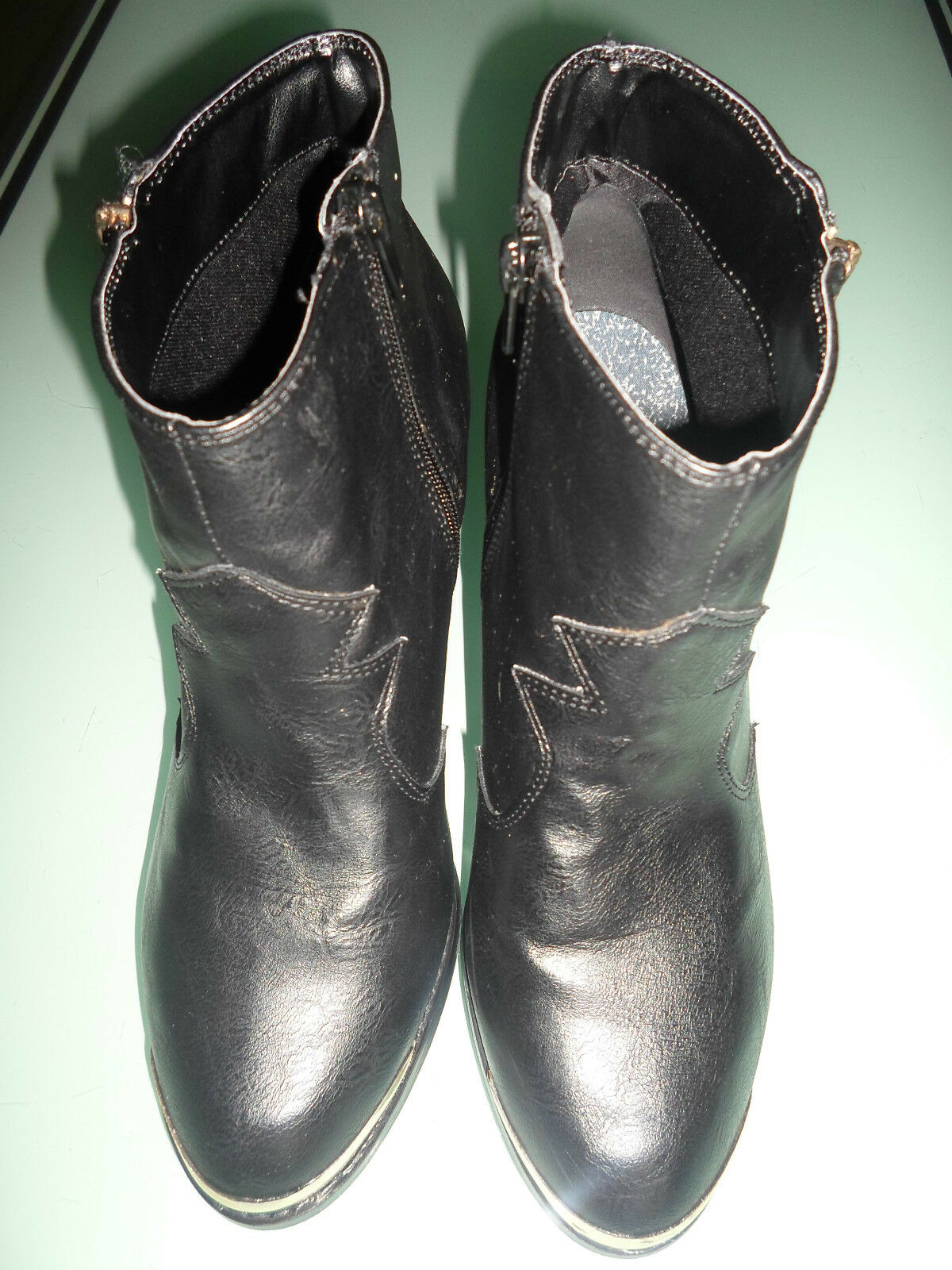 F & F Women Size 8 Black Mix Ankle Boots