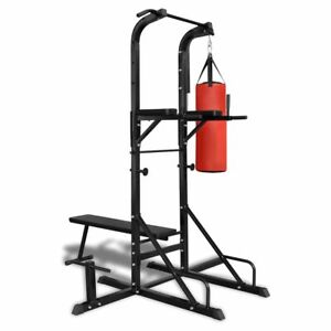 Power-Tower-with-Sit-up-Bench-and-Boxing-Bag-All-In-One-Press-Chest-Shoulder