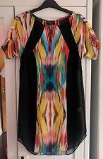 Warehouse Sheer Black Colourful Rainbow Pattern Silk Dress 6